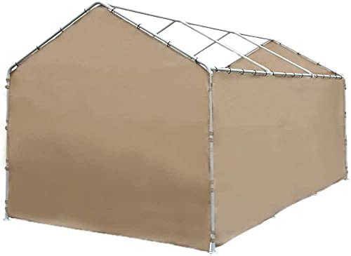 Abba Patio Replacement 12 x 20 ft Shelter Garage UV Water Resistant SideWall Tarp with Rings (Frame & Top Cover Not Included), for 8 Legs Carport, Beige