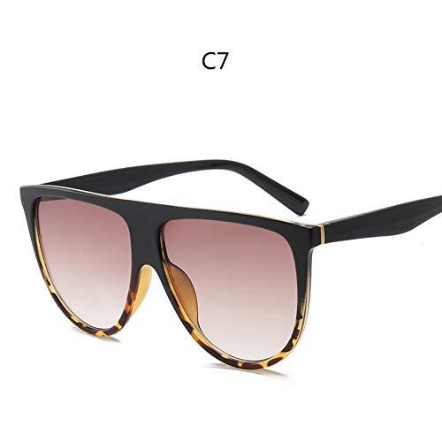 YLNJYJ Thin Flat Top Occhiali da Sole Donna Luxury Retro Vintage Occhiali da Sole Donna Kim Kardashian Occhiali da Sole Clear Glass