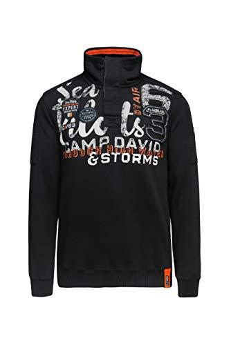 Camp David Herren Sweatshirt mit Troyer-Kragen und Artwork