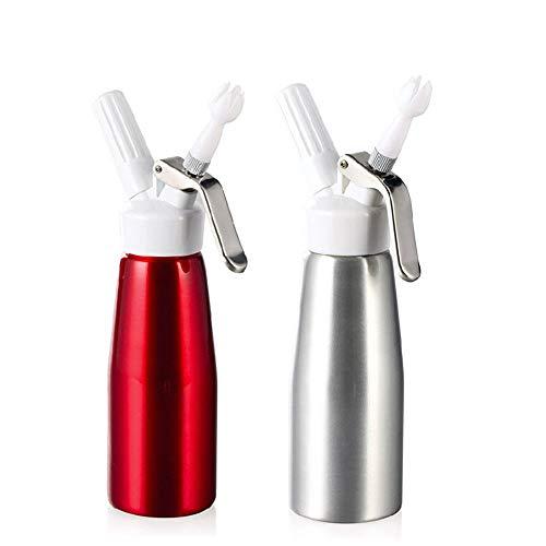 Xian 500 ml Aluminium Siphon für schäumende Creme Schlagsahne Dispenser Sahnesyphon (Rot)
