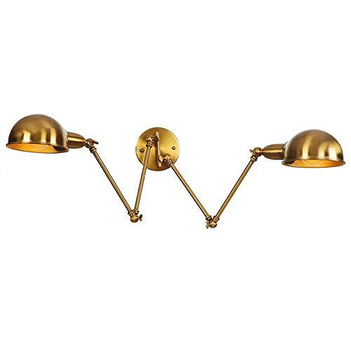 DROMEZ Lámpara de pared de Brazo Largo Ajustable retro,2 llamas Luz de Pared Industrial Vintage,Aplique de Pared de Doble Cabezal de Hierro Forjado,para Sala de Estar,Dormitorio,Bar,Restaurante