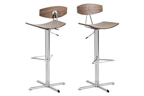 AC Design Furniture 423 Taburete Caroline, Asiento, Nogal, Marrón, 85-101 cm