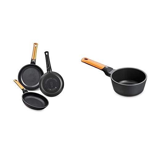 BRA Efficient Orange Set de 3 sartenes, Aluminio Fundido, aptas para Todo Tipo de cocinas, 20-24-28 cm + Cazo 16cm Efficient Orange, Aluminio Fundido, Naranja, 16 cm