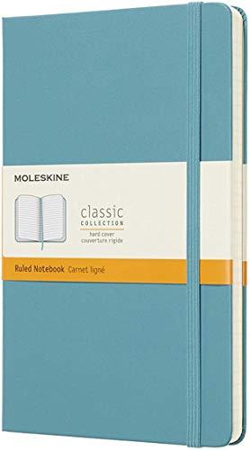Moleskine - Carnet de Notes Classique Papier à Rayures - Journal Couverture Rigide et Fermeture par Elastique - Couleur Bleu Lagon - Taille Grand Format 13 x 21 cm - 240 Pages