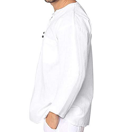 Celucke Leinenhemd Herren Mittelalter Langarm Freizeithemd Männer Yoga Shirt Fisherman Sommerhemd Casual Leinen Leichte Sommer Strand Atmungsaktives Hemd (Weiß, XXL)