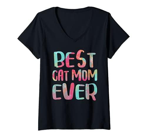 Mujer Best Cat Mom Ever - Camiseta de regalo para el día de la madre Camiseta Cuello V