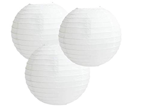 Paper Lanterns Mix Color Packs of 3 Round Paper Lanterns Lampshade Party Decorations (All White, 12' (30 cm))