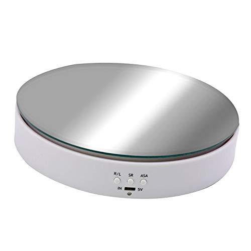 milageto 360 ° di Rotazione Elettrico Turntable Banco di Mostra del Basamento del Supporto per la Fotografia Mostra di Esposizione dei Monili - Bianco
