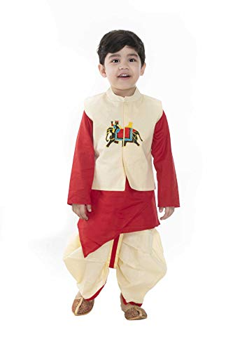 NEW GEN Boy's Full Sleeve Pure Cotton Raja Jacket Kurta with P Dhoti (Red, 2-3 Years)