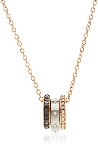 Swarovski Women's Hint Pendant, Stunning White and Black Crystals in Three Rings and a Mixed Metal Finish, from the Swarovski Hint Collection