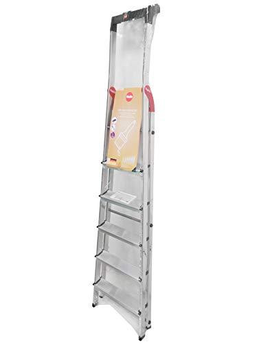 Hailo L60 StandardLine Alu-Sicherheits-Stehleiter, 6 Stufen, Ablageschale, belastbar bis 150 kg, silber, made in Germany, 8160-607