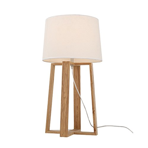 U-Enjoy Chandelier Nordic Floor Wood Style Shade Simple Sofa Lamp Japanese Light Foyer Sitting Table Room Fabric Side Bedside E27 Oak Free Shipping [Table lamp]