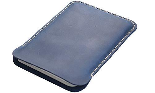 Leder Tasche für Microsoft Surface Duo (für nackt, ohne Bumper), Cover blau, Made in Europe