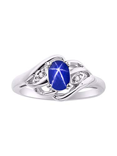 Anillo de zafiro con estrella azul y diamante en plata de ley 925