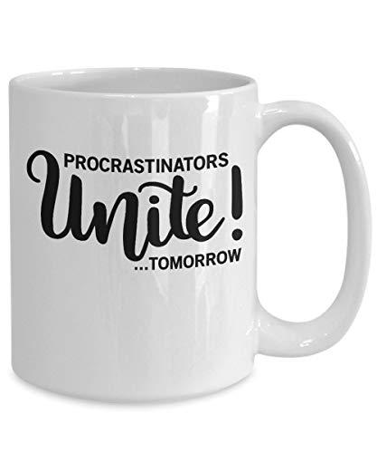 DKISEE Regalo de procrastinador, taza de perezoso, taza de sarcasmo, taza perezosa, idea de regalo de taza de café, procrastinators unite mañana