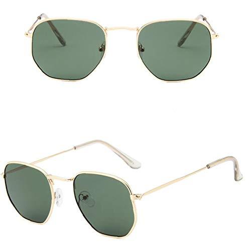 asdfwe Marco 1pc Fino De Metal Gafas De Lentes De Espejo Protección UV para Hombres Y Mujeres (Marco del Oro Oscuro Lente Verde)