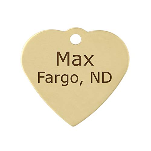 DogIDs Personalized Heart Shaped Dog Identification Tag, Custom Laser Engraved Double Sided ID Tag with S-Hook and Split Ring - Brass, Large, 1 1/4 in x 1 1/4 in