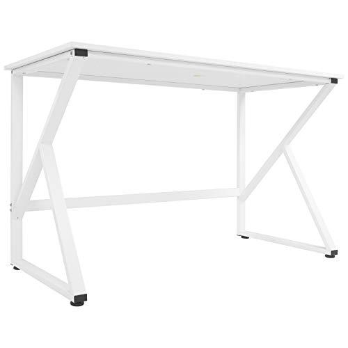 belupai Escritorio para ordenador con patas en forma de K, gran mesa de trabajo para oficina en casa, fácil de montar, 120 x 60 x 75 cm, color blanco