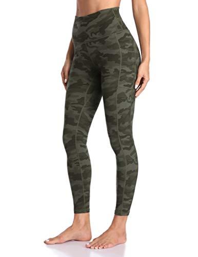 Colorfulkoala Women's High Waisted Yoga Pants 7/8 Length Leggings with Pockets (XL, Army Green Camo)