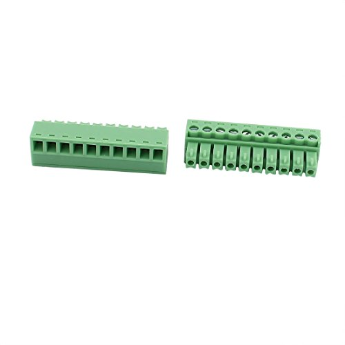 uxcell 5Pcs 300V 2EDGK 3.81mm Pitch 10-Pin PCB Screw Terminal Block Connector