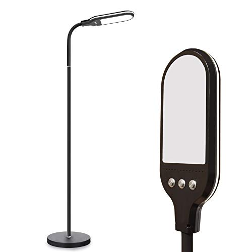 LDhut Hight Bright LED Floor Lamp for Crafts, Reading, Lash Extensions, Natural Daylight and 3 Brightness Standing Lamp for Office Tasks, Living/Bed Room Adjustable Gooseneck Pole Lamp