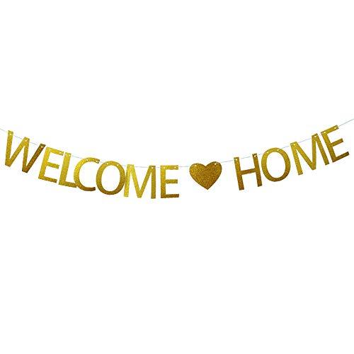 JNCH Willkommen Zuhause Banner Girlande Welcome Home Girlande Deko Papier Bunting Buchstaben Flags für Hochzeit Party Familie Festival Feier Haus Dekoration