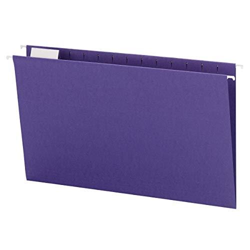 Smead Hanging File Folder with Tab, 1/5-Cut Adjustable Tab, Legal Size, Purple, 25 per Box (64172)