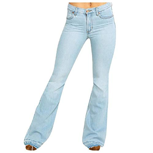 N\P Mujeres Flare Jeans Mujer Más Tamaño Media Cintura Bell Jeans Stretch Slim Pantalones Longitud
