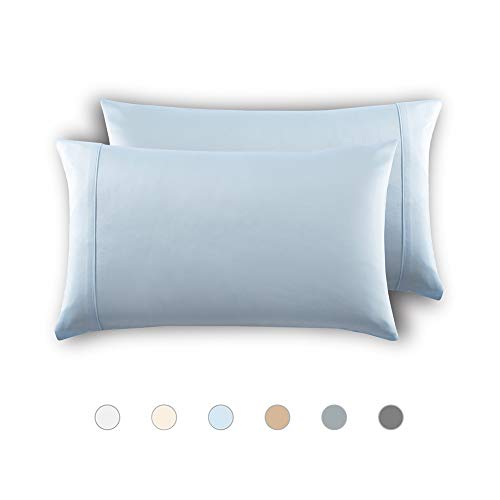 MEILA Silky Satin Pillowcase for Hair and Skin, Ultra-Soft Washed Silk Pillow Cases Standard Size Set of 2, Baby Blue