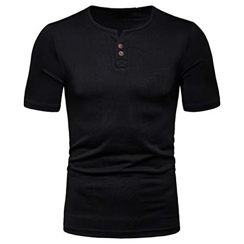 Musculosa Shirt Hombre Verano Moderna Moda Personalidad Cuello V Hombre Compresión Shirt Básica Ajustado Elástica Color Sólido Manga Corta Secado Rápido Shirt A-Black L