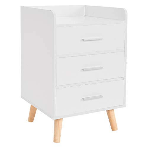 Nordic Nightstand with Drawers, Modern Assemble Storage Cabinet, Nightstands Bedroom Locker 3-Drawer Bedside Table, Easy Assembly(White)