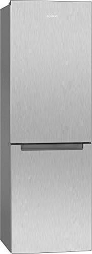 Bomann KG 7313 Kühl-/Gefrierkombination/A++ / 185 cm Höhe / 208 kWh/Jahr / 198 Liter Kühlteil / 89 Liter Gefrierteil/stufenlose Temperaturregelung/Edelstahl-Optik, Metallisch