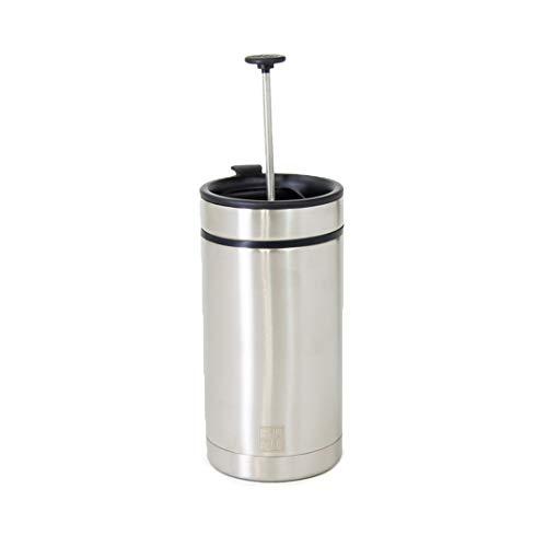 BruTrek Steel Toe French Press Coffee Travel Mug - Bru-Stop Technology No Grinds in Coffee, Brushed Steel, 20 oz Stainless Steel Cup