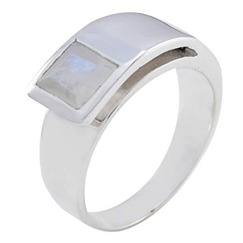 joyas plata piedras preciosas reales forma cuadrada una piedra anillo de piedra de luna arcoíris facetado - anillo de piedra de luna arcoíris blanco de plata de ley 925 - cáncer de nacimiento