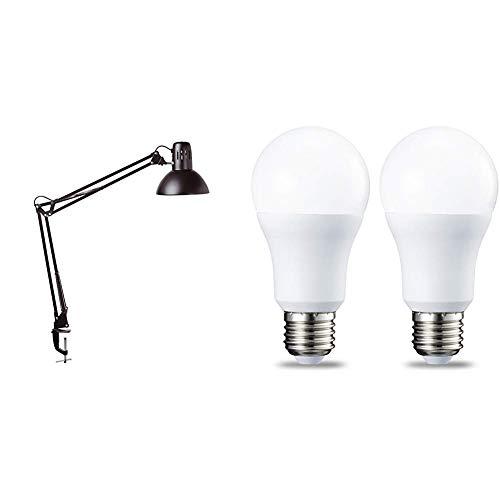 Maul 8230590 MAULstudy - Lámpara de bajo consumo + Amazon Basics Bombilla LED Esférica E27, 10W (equivalente a 75W), Blanco Frío - 2 unidades