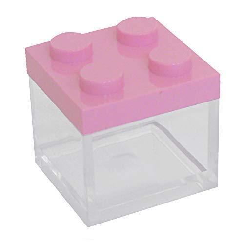 Omada Design scatolina tipo mattoncino in plexiglas (24 PEZZI) trasparente formato 5 X 5 X 5 cm, per bomboniere,made in Italy by Adamo,colore rosa.