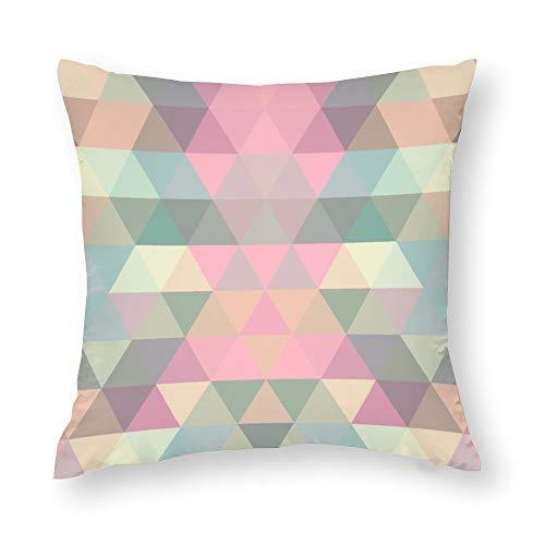 YY-one Fundas de almohada decorativas con diseño de mosaico triangular, fondo geométrico, funda de cojín de algodón para sofá, silla, cuadrado, 55,8 x 55,8 cm