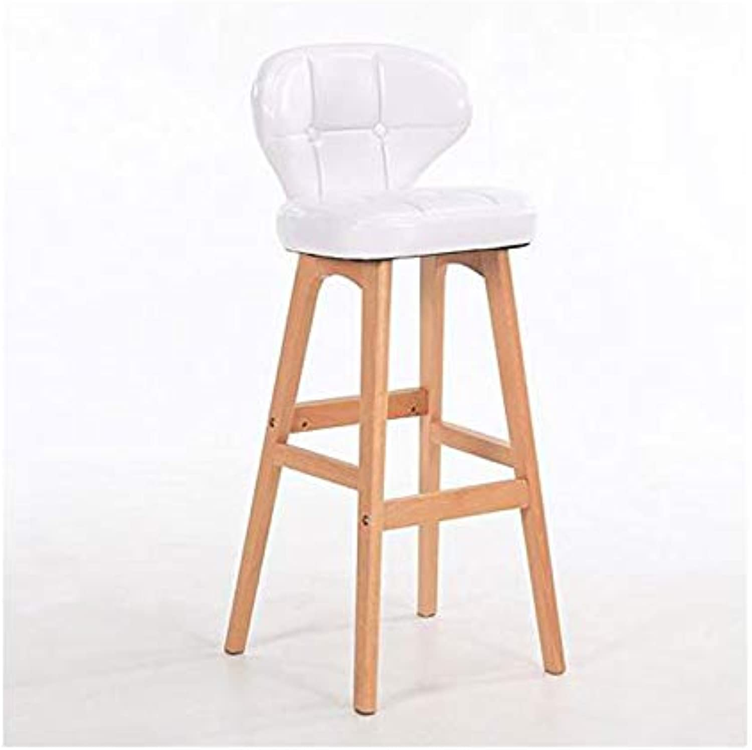 Bar stools Coffee bar Chair Creative Solid Wood high Stool bar Stool Creative Simple Front Chair Multicolor can not redate Height Chair (color   White1, Size   65CM)