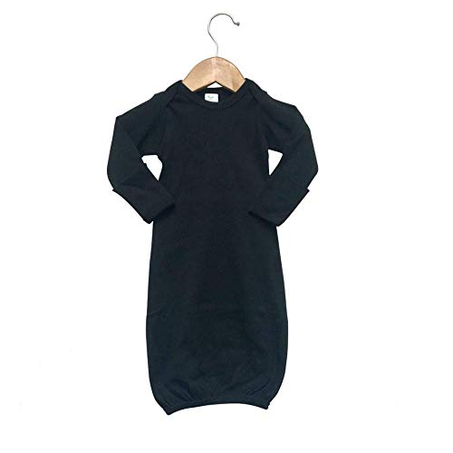 Laughing Giraffe Baby Infant Blank Long Sleeve Sleeper Gown With Mitten Cuffs  Black 03 Months 3850