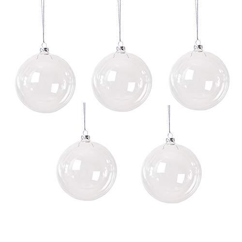 Yolaka 5pcs 80mm Clear Transparent Ball Christmas Tree Ball Ornaments DIY Fillable Ball Glass Baubles