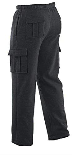 Winter Tex Mens Long Cargo Pants Sweatpants Truck Fleece Lined with Elastic Waistband, Fleeced Cargo Pants S-XXL (L, Dark Gray)