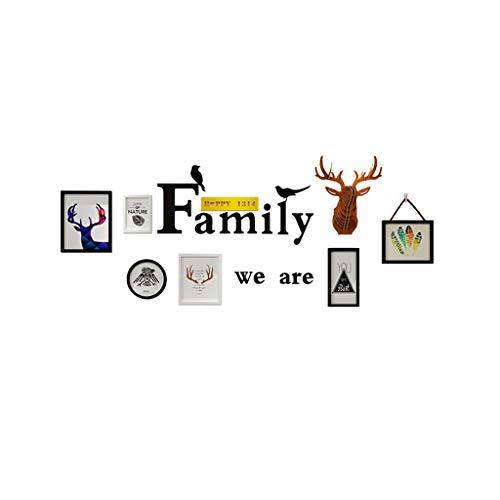 Rventric Marco de la Foto de la Familia Fija para la Pared, combinación de Madera sólida múltiple de la decoración de la Pared/Marco 6 PC del Collage