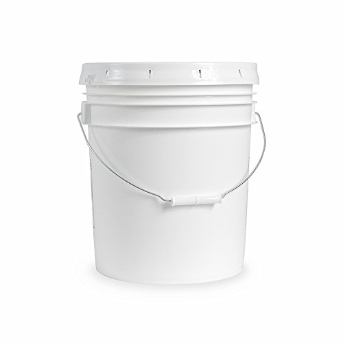5 gallon Food Grade White Plastic Bucket with Handle & Lid - Set of 6