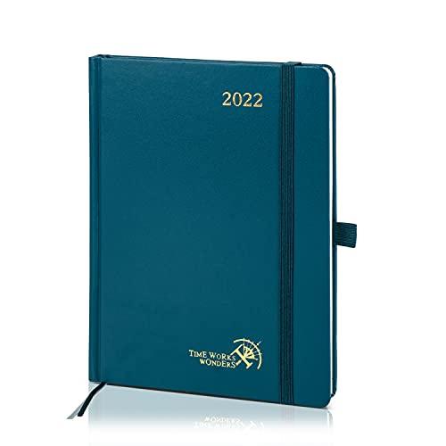 POPRUN Agenda 2022 Settimanale 21,5 x 16,5 cm - Layout Verticale con Intervallo Orario, Pagine di Note e Contatto, Tasca Interna, Copertina Rigida - Verde Pacifico