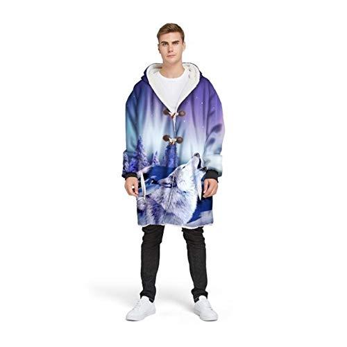 Lone Lobo con capucha con capucha Fleece Pelleza de felpa 3D Manta de envoltura cálida con mangas, abrigo al aire libre de invierno Bolsillo con abotajeado con capucha con capucha