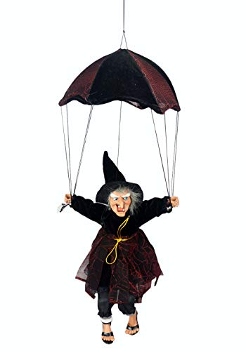 "Halloween Witch Decorations 19"" Parachute Witch Sound Activated Kick & Laughing & Eyes Bright Witch Outdoor & Indoor Party Hanging Decorations"
