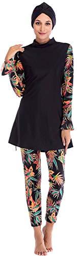 Ababalaya Womens Muslim Islamic Swimsuit 2 Pieces Full Cover Hijab Burkini Swimwear