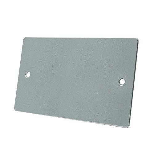 Bulk Hardware BH02975 - Doble Placa En Blanco Plana, De Acero Inoxidable Plateado (Paquete De 1)