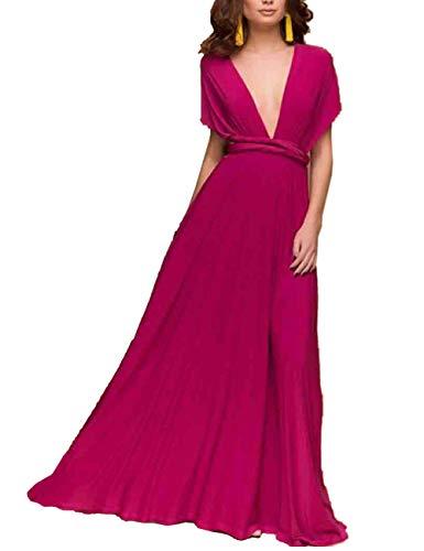 EMMA Damen Sexy Elgant V-Ausschnitt Rückenfrei Gefaltet Plisse Abendkleider Schulterfrei Cocktailkleid Abschluss Bandage, S, Rosa Rot