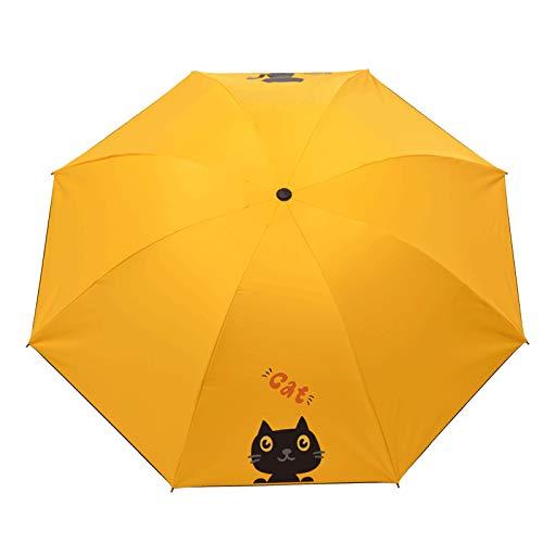 Paraguas de Estudiante de Dibujos Animados Pegamento Negro Lluvia Dos Paraguas Paraguas automático Sombra protección Solar Moda Lindo Paraguas